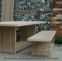 Oak garden table and bench